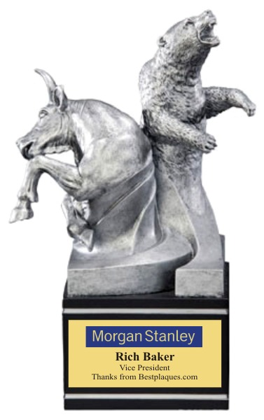Bull Bear Award Statue Pewter
