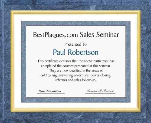 Certificate Plaques Medium Blue