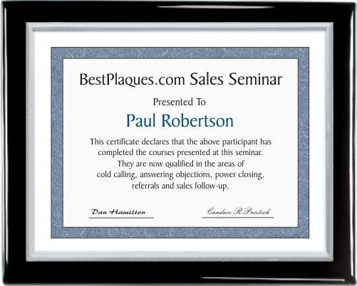 Certificate Plaques Black Piano Finish Silver Frame