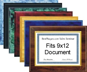 Certificate Plaques for 9x12 Document