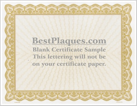 Certificate Paper Gold Border
