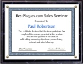 Certificate Plaque Black 8x10