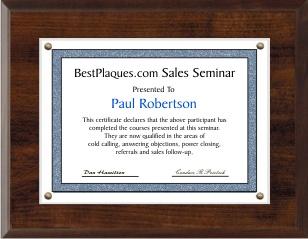 Certificate Plaque 11x14
