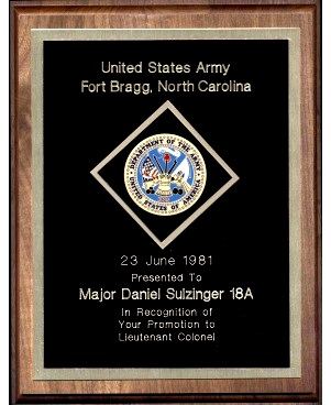 Army Wall Plaque Promotion Retirement