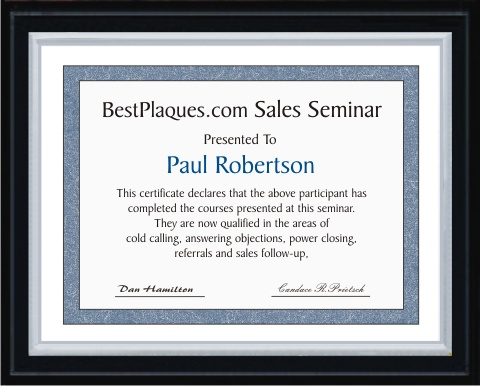 Certificate Plaque Solid Black Matte Silver Frame