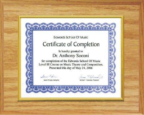 Certificate Plaque Light Oak
