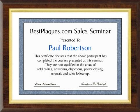 Certificate Plaque Slide In