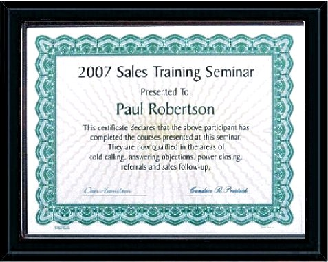 Certificate Plaque Discount Pricing
