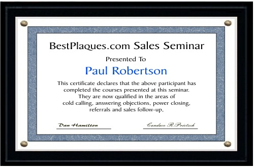 Certificate Plaque Kit MATTE BLACK for 8.5x14
