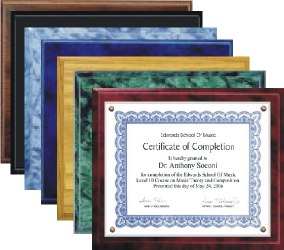 Certificate Plaque Kits Mixed Colors