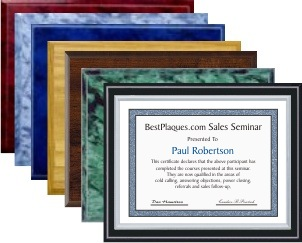 Certificate Plaque Silver Frame