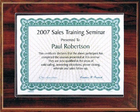 Certificate Plaque for 5x7