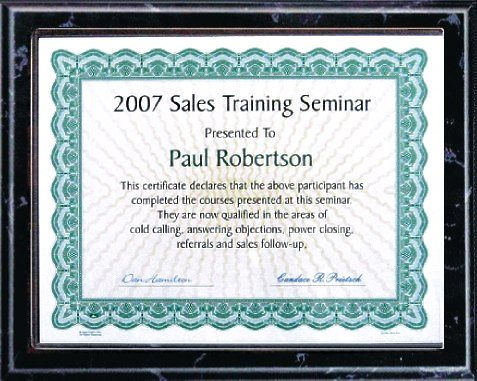 Certificate Plaque BPTL1B