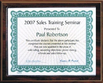 Certificate Plaque Kit Slide
