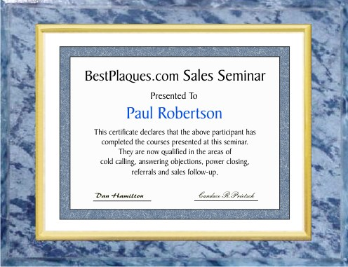 Certificate Plaque Blue Marble