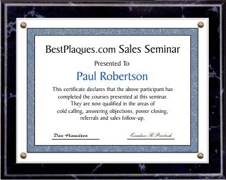 Certificate Plaque