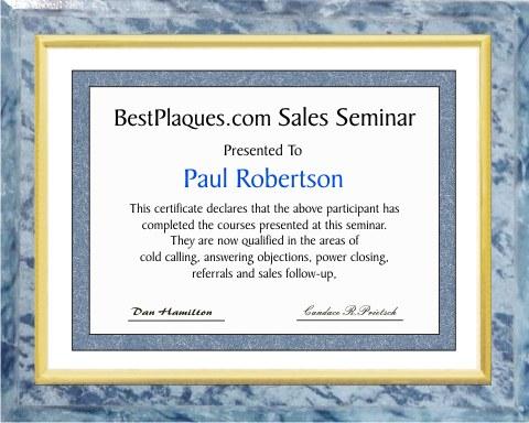 certificate plaque deluxe gold trim