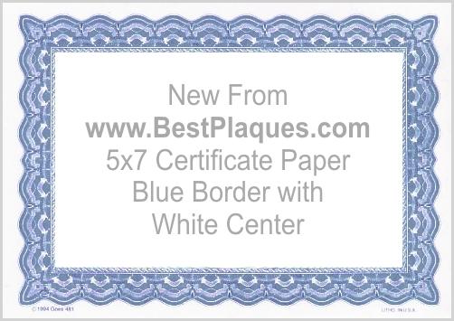 Certificate Paper 5x7