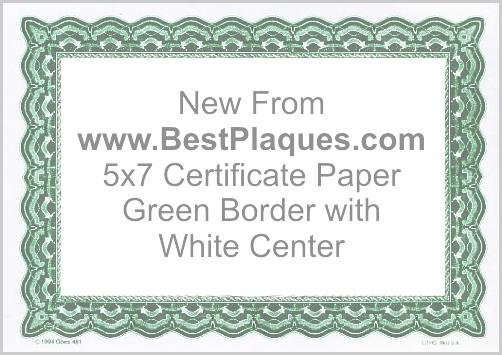 Certificate Paper 5x7 Blank