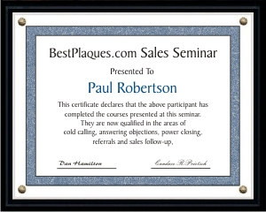 Certificate Plaques SOLID BLACK