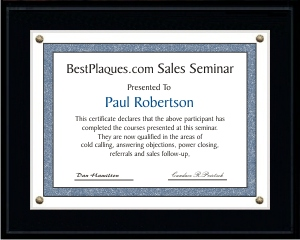 Certificate Plaques SOLID BLACK for 9x12