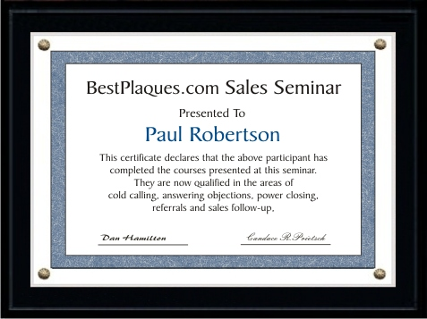 Certificate Plaque Kits Matte Black 5x7