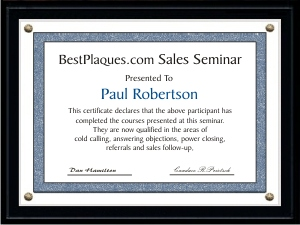 Certificate Plaques Matte Black 6x8 for 5x7