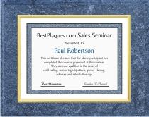 Certificate Plaques Medium Blue 12x15