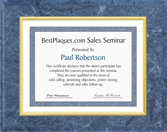 Certificate Plaques Medium Blue 12x15