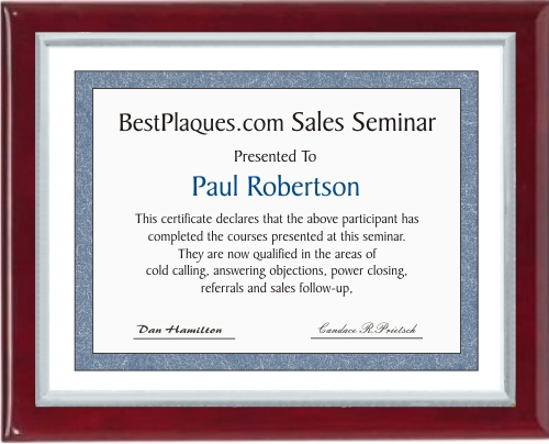 Certificate Plaques Rosewood Piano Finish Silver Frame