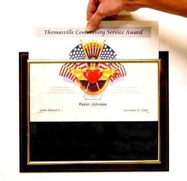 Certificate Plaques Slidein hand