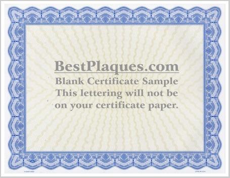 Certificate Paper Blue Border