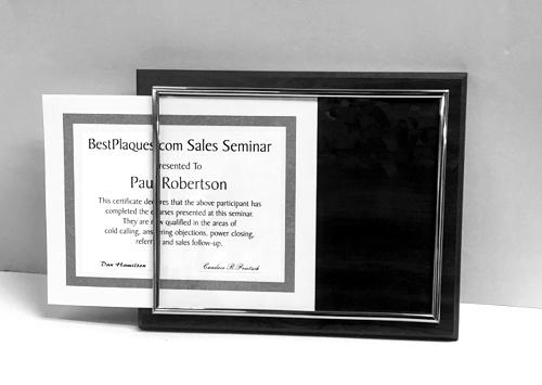 Certificate Plaques Black Slide In