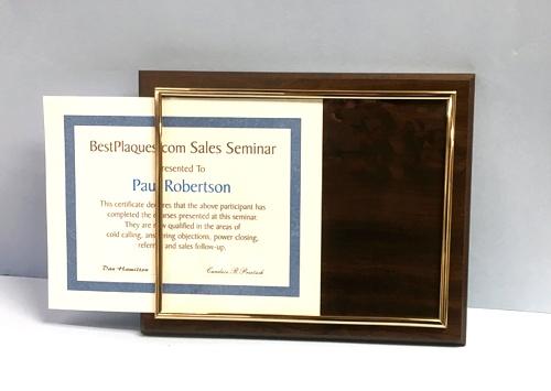 Certificate Plaques Walnut Slide In
