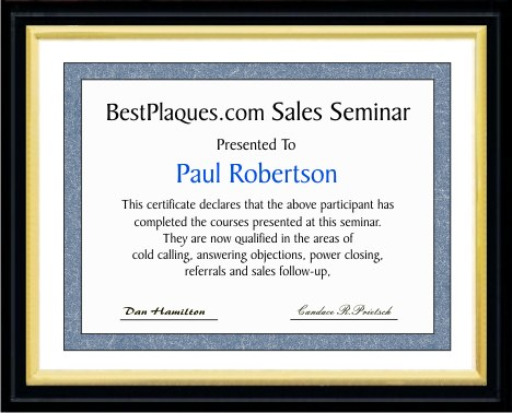 Certificate Plaque  Matte Black