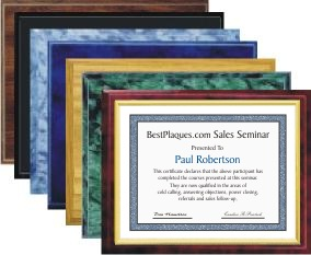 Certificate Plaque Gold Frame