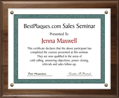 Certificate Plaques Genuine Walnut