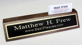 Desk Plaque - Nameplate with business card holder