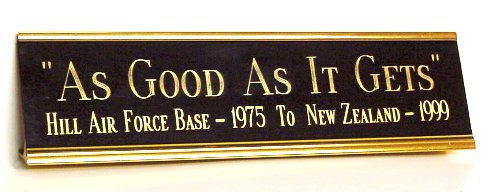 desk nameplate - corporate award - gold metal engraved