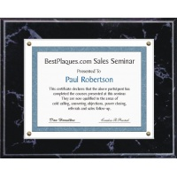 8.5X11 Certificate Plaque Kits Black Marble Style - 12X15 Plaque holds an 8.5X11 Certificate