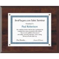 8.5X11 Certificate Plaque Kits Walnut Style - 12X15 Plaque holds an 8.5X11 Certificate