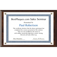 12X18 Certificate Plaque Kits Walnut Style - 13X20 Plaque holds a 12X18 Certificate