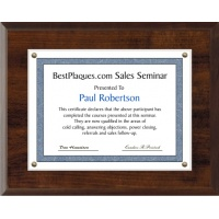 11X14 Certificate Plaque Kits Walnut Style - 15X18 Plaque holds an 11X14 Certificate