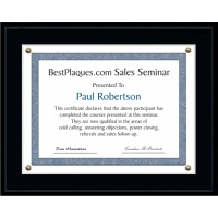 9X12 Certificate Plaque Kits Solid Matte Black Style - 12X15 Plaque