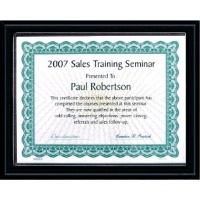 10.5X13  Matte Black Style Plaque Best Value Slide In Holds 8.5X11 Certificate