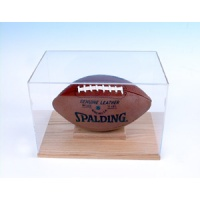 Football Oak Base Display Case with mirror back