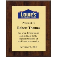 7x9 Logo Plaques - Gold Plate - Walnut Color Plaque. #BPXR7