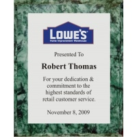 8x10 Logo Plaques - Silver Plate - Green Marble Color Plaque. #BPXR8