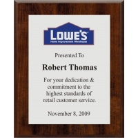 7x9 Logo Plaques - Silver Plate - Walnut Style Color Plaque. #BPXR7