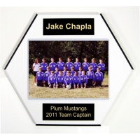 5 x 7 Soccer Ball Style Team Plaques Home Plate Style - 10 x 10 Plaque Fits a 5 x 7 Photo